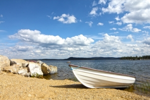 Boat on coast of lake